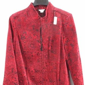 Christopher & Banks Red Asian Floral Blazer Size M